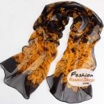 ผ้าพันคอแฟชั่นลายดอกไม้ Blossom : สีส้มอมดำ CK0001