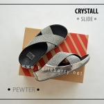* NEW * FitFlop CRYSTALL Slide : Pewter : Size US 7 / EU 38