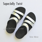 รองเท้า FitFlop SUPERJELLY TWIST : Silver Mirror : Size US 9 / EU 41