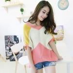 """""""พร้อมส่ง""""เสื้อผ้าแฟชั่นสไตล์เกาหลีราคาถูก Brand Lele Style เสื้อไหมพรมถัก คอวี แขนสามส่วน -สีชมพู"""