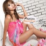 ผ้าคลุมชายหาดลายดอกไม้ Blossom : สีส้มพื้นผ้าสีชมพูฟ้า AB0013