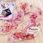 ผ้าพันคอแฟชั่นลายดอกไม้ Blossom : สีชมพูขาว CK0036