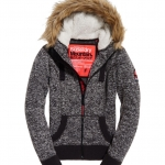 New Womens Superdry Storm Fur Ziphood Charcoal Grit