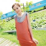"""""""พร้อมส่งค่ะ""""เสื้อผ้าแฟชั่นสไตล์เกาหลีราคาถูก Brand Catworld set 2 ชิ้น เดรสแขนกุดลายขวางสีขาวดำ เสริมฟองน้ำที่ไหล่ +เสื้อคลุมตัวยาวสายหนัง -สีส้ม"""