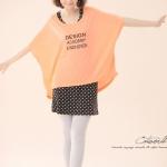 """""""พร้อมส่งค่ะ""""เสื้อผ้าแฟชั่นสไตล์เกาหลีราคาถูก Brand Catworld set 2 ชิ้น เดรสแขนกุดสีดำจุดขาวเนื้อนิ่ม ไม่มีซับใน +เสื้อแขนค้างคาวสีส้มสะท้อนแสง เปรี้ยวๆค่ะ"""