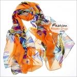 ผ้าพันคอแฟชั่น ลายดอกไม้หลากสี : พื้นสีส้ม CK0357