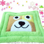 พรมเช็ดเท้าแฟนซี-Size L-หมาหน้าเหลี่ยม-เขียว