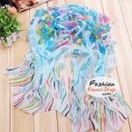 ผ้าพันคอแฟชั่นลายดอกไม้ Blossom : สีฟ้า CK0018