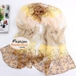 ผ้าพันคอแฟชั่นลายดอกไม้ Blossom : สีเหลืองน้ำตาล CK0004