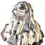 ผ้าพันคอแฟชั่นลายม้าลาย Celeb Zebra : สีครีม