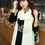 ผ้าพันคอไหมพรม ผ้า cashmere scarf size 180x30 cm - สีขาว