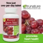 Trunature-GrapeSeed 300mg+Resveratrol 75mg+C100mg (สูตรใหม่) 150เม็ด รักษาความอ่อนเยาว์ เสริมสร้างคอลลาเจน ชะลอความแก่ชรา (มี2ขวด exp.02/2020)