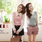 ♡♡pre-order♡♡ เสื้อแฟชั่นทำงานแขนยาวลายจุดน่ารักๆ คอปกเชิ๊ต สวยเก๋มากๆ