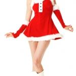 ชุดคริสมาสต์ซานตี้ ซานตาครอส สายเดี่ยวสีแดง
