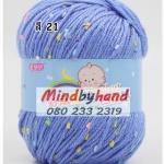 ไหมพรม Baby (ไหมพรมสำหรับเด็ก) มีจุดลาย สี 21 Blue