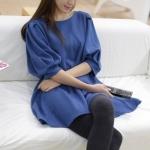 """""""พร้อมส่ง""""เสื้อผ้าแฟชั่นสไตล์เกาหลีราคาถูก Brand Cherry koko Mini dress ทรงปล่อย แขนพัฟพองๆ กระเป๋า2ข้าง ผ้าหนา ไม่มีซับใน -สีน้ำเงิน"""