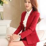 ชุดยูนิฟอร์มพนักงานออฟฟิต เสื้อสูท พร้อมกระโปรงสีแดง