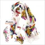 ผ้าพันคอแฟชั่น ลายดอกไม้หลากสี : พื้นสีขาว CK0355