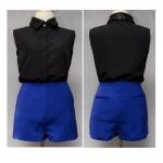 [[พร้อมส่ง]] MC01-013 กางเกงสีน้ำเงินเข้ารูปกระเป๋าหลัง