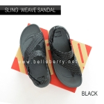 * NEW * FitFlop : Sling Mens Weave Sandal : Black / Dark Shadow : Size US 8 / EU 41