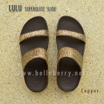 FitFlop LULU Superglitz Slide : Copper : Size US 6 / EU 37