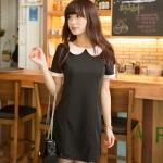 """""""พร้อมส่ง""""เสื้อผ้าแฟชั่นสไตล์เกาหลีราคาถูก Brand Chuvivi เดรสสีดำผ้าหนา คอปกและปลายแขนสีชมพูอ่อน ไม่มีซับใน -size L"""