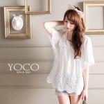 ♡♡pre-order♡♡ เสื้อตัวบนน่ารักๆ สีขาวแต่งผ้าลูกไม้รอบคอ สวยหรูหรา