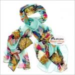 ผ้าพันคอแฟชั่น ลายดอกไม้หลากสี : พื้นสีเขียว CK0356