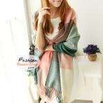 ผ้าพันคอไหมพรมแฟชั่นสไตล์เกาหลี ลายสก๊อต : สีชมพูเขียว GH0010
