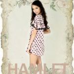"""""""พร้อมส่ง""""เสื้อผ้าแฟชั่นสไตล์วินเทจราคาถูก Hamlet แซกลายหัวใจ -สีชมพูอมม่วง"""