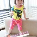 ชุดเด็กเล็ก ลายแมวเหมียว + กางเกงสีชมพูลายจุด (เนื้อผ้าดีค่ะ)