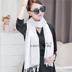 ผ้าพันคอ ผ้าคลุมพัชมีนา Pashmina scarf size 160 x 60 cm - สีขาว