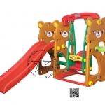 PGGT-811 สไลด์หมีน้อย 4 in 1 สไลด์ + ชิงช้า + เสียงเพลง + แป้นบาส (สีน้ำตาล)