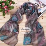ผ้าพันคอแฟชั่นลายหางนกยูง : สีเทา CK0195