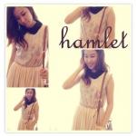"""""""พร้อมส่ง""""เสื้อผ้าแฟชั่นสไตล์วินเทจราคาถูก Hamlet แซกปกดำตั้ง ลายม้ายูนิคอร์น -สีชมพู"""