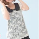 """""""พร้อมส่งค่ะ""""เสื้อผ้าแฟชั่นสไตล์เกาหลีราคาถูก Brand Catworld เดรสคอปกสีดำลายจุด เย็บติดคลุมด้วยเสื้อลูกไม้ถักลายดอกแขนสั้น มีซับใน"""