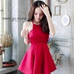 """""""พร้อมส่ง""""เสื้อผ้าแฟชั่นไทย Dress สปาเกตตี้ (Style lookbook) -สีแดง"""