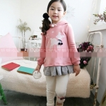"""size 120 cm """"พร้อมส่ง""""เสื้อผ้าแฟชั่นเด็กสไตล์เกาหลีราคาถูก เสื้อกันหนาวเด็กแขนยาวสีชมพู ลายกวาง มีฮู้ด ชายแต่งระบายสีเทา ใส่แล้วอุ่น น่ารักค่ะ size 120 cm"""