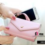 """""""พร้อมส่ง""""กระเป๋าใส่iPhone 4/4s, iPhone 5,samsung i9100 แบบมงกุฏ 3ช่อง มีซิป -สีชมพูอ่อน"""