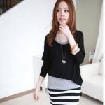 """""""พร้อมส่ง""""เสื้อผ้าแฟชั่นสไตล์เกาหลีราคาถูก เดรสเสื้อดำต่อแขนกุดสีเทาต่อกระโปรงลายขาวดำเย็บติดกันทั้งหมด"""