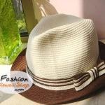 หมวกแฟชั่นทรงขนมเค้ก : โบว์สีน้ำตาล-ขาว BH0016