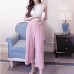 กางเกง culottes แฟชั่นใส่ทำงานสบายๆ สีชมพูอ่อน