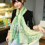 ผ้าพันคอลายจุด ขอบระบายลูกไม้ สีเขียว ผ้าพันคอ viscose - size 160x80 cm