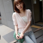 """size M""""พร้อมส่ง""""เสื้อผ้าแฟชั่นสไตล์เกาหลีราคาถูก Brand Chuvivi เสื้อชีฟองสีชมพูอ่อน คอวี จั๊มเอวมีระบาย มีซับใน -size M"""