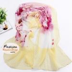 ผ้าพันคอแฟชั่นลายดอกไม้ Blossom : สีเหลืองแดงอ่อน CK0013