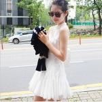 """""""พร้อมส่ง""""เสื้อผ้าแฟชั่นสไตล์เกาหลีราคาถูก Brand Cherry KOKO เดรสผ้าฝ้ายแขนกุด กระดุมหน้า ชายบานๆ มีผ้าผูกเอว ไม่มีซับใน -สีขาว"""