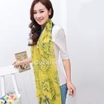 ผ้าพันคอแฟชั่น ลาย Graphic H สีเหลือง ผ้า viscose size 170x70 cm