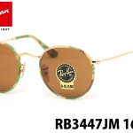 Rayban Round Sunglasses RB3447 JM 169 50 Gold Green Camo Lennon