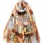 ผ้าพันคอ ผ้าคลุมไหล่ ลายผ้าซัมบาลา : Shambhala สีน้ำตาลเทา - ผ้าพันคอ Cotton - size 180*100 cm