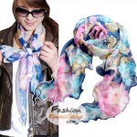 ผ้าพันคอแฟชั่นลายดอกไม้ Blossom : สีน้ำเงิน CK0029